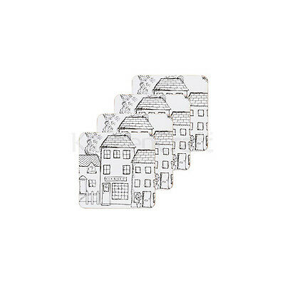 Kitchen Craft Village Cork Back Laminated Set of 4 Coasters