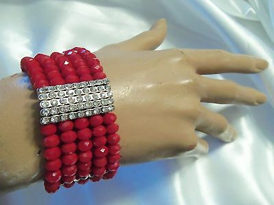LAST ONE: Matte RUBY RED Crystal Silver/Rhinestone StretchBracelet LA2B105