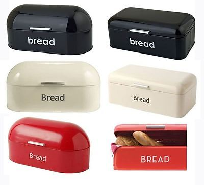 Retro Vintage Bread Bin In Black Red Cream With Curved Top Square Top Enamel