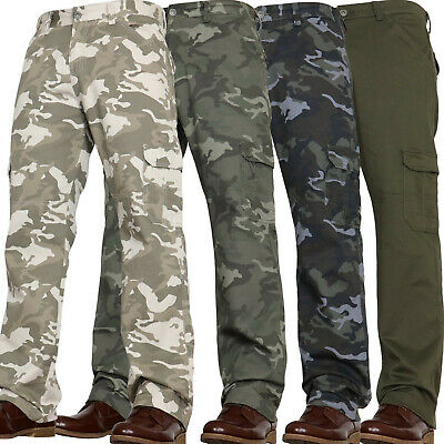 New Mens Casual Military Army Camo Cargo Combat Work Pants Trousers Waist Sizes