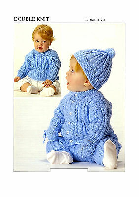 fbdec7af9b417c BABY SWEATER CARDIGAN trousers hat and mittens dk knitting pattern ...