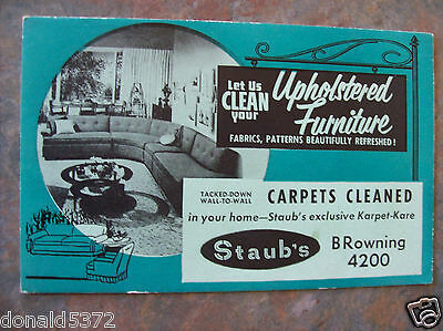 Staub's Furniture Cleaning Old Advertising Blotter