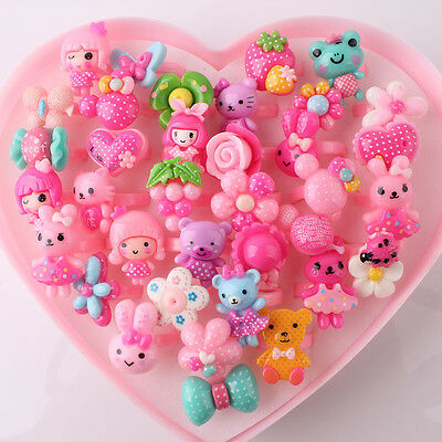 Wholesale 36pcs Mix Lot Assorted Flower Animal Heart Cartoon Girl Children Rings