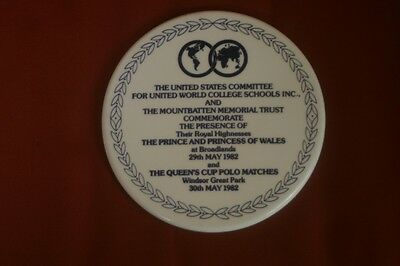 Boehm Commemorative Trivet Prince Princess of Wales queens Cup Polo World Colleg
