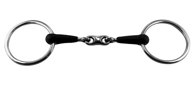 Loose Ring Snaffle Horse Bit with Double Jointed Rubber Mouth - 221505.14R