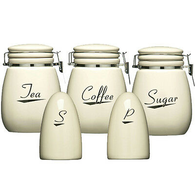 New 5pc enamel storage set tea coffee sugar bread biscuit Salt n pepper pots