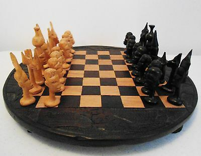 Vintage African Ebony Hand Carved Wooden Chess Set 32 Pieces + Carved Board