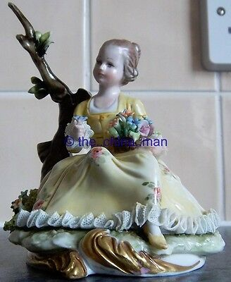 BELLOIRE signed CAPODIMONTE DRESDEN LACE YOUNG GIRL with FLOWERS FIGURINE figure
