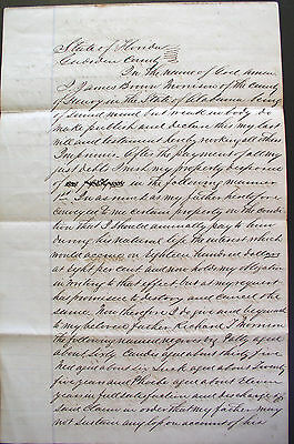 1857 Florida Last Will & Testament ~ leaves 10 named slaves to father and wife
