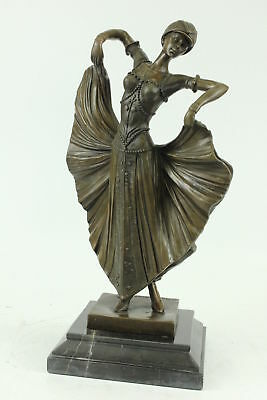 Chiparus Flapper Dancer Handmade Figure Art Deco Noveau Bronze Statue Sculpture