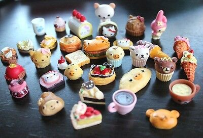 Lot 30pc Food DIY Rilakkuma Resin Cabochon Kawaii flatback Dollhouse Miniature