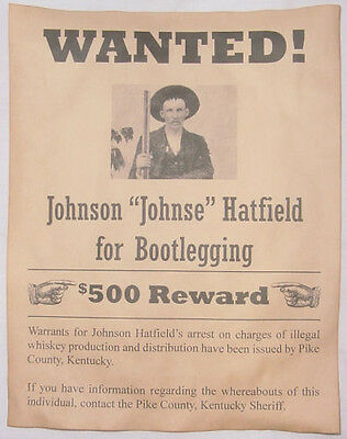 Johnse Hatfield Wanted Poster, Moonshine, Moonshiner