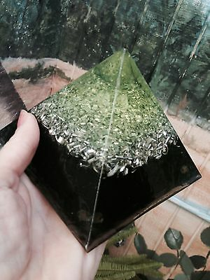 Stunning Green POWERFUL Orgone Pyramid LARGE size Reiki Charged
