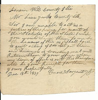 1839 CRETE MOMENCE ILLINOIS ENOCH SARJENT SARGENT WILL COUNTY PIONEER  DOCUMENT