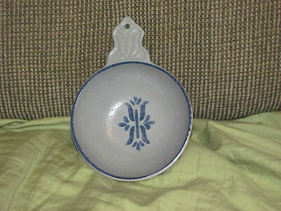 Haeger Bowl Gray with Blue Trim