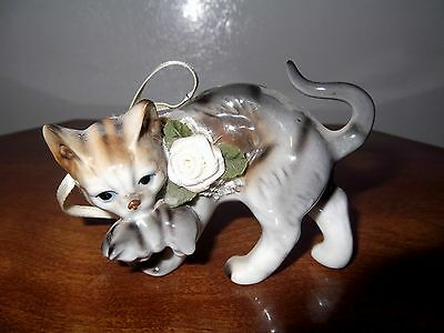 PORCELAIN CAT CARRYING KITTEN ORNAMENT FIGURINE