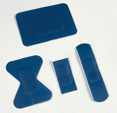50x BLUE DETECTABLE Catering Washproof Plasters - Assorted - First Aid