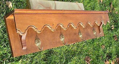 Antique Carved Wood Coat Rack kitchen rack 4 Brass Hooks Primitive Rustic
