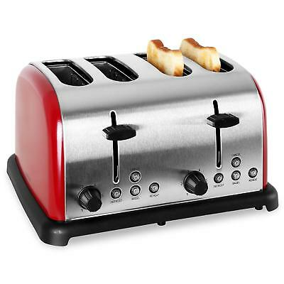 STAINLESS STEEL RED BRUSH 4-SLICE TOASTER w. WIDE SLOTS *FREE P&P SPECIAL OFFER