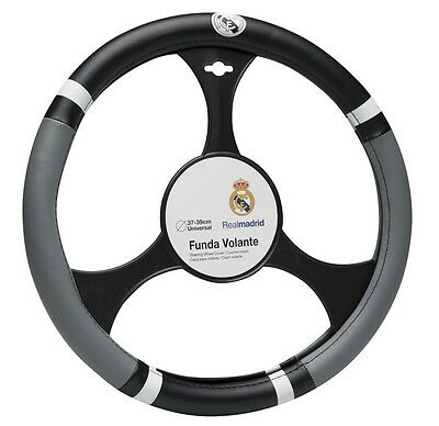 Offical Real Madrid Black & Grey Leather Car Steering Wheel Cover - (37 - 39cm)