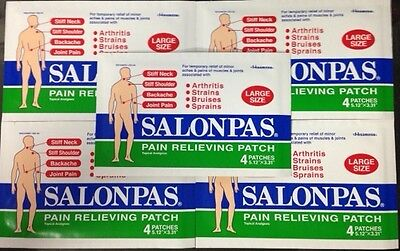 "Salonpas Pain Patch, Large 5 Packs of 4 Patches ( 5.12"" x 3.31"")Total 20 Patches"