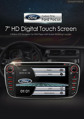 "Autoradio Gps Ford Focus Mondeo Smax 7""hd Usb Sd Dvd Comandi Volante Bluetooth"