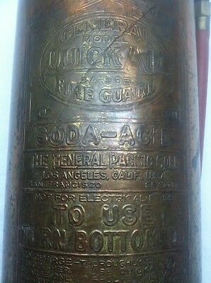 VINTAGE COPPER BRASS FIRE EXTINGUISHER GENERAL QUICK AID SA303 with Hose