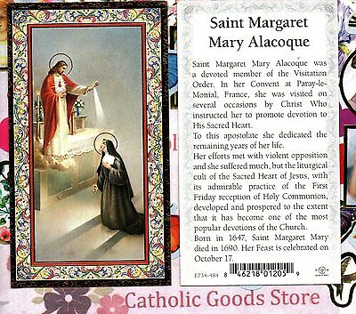 Saint St. Margaret Mary Alacoque - Biography  - gold trim - Paperstock Holy Card