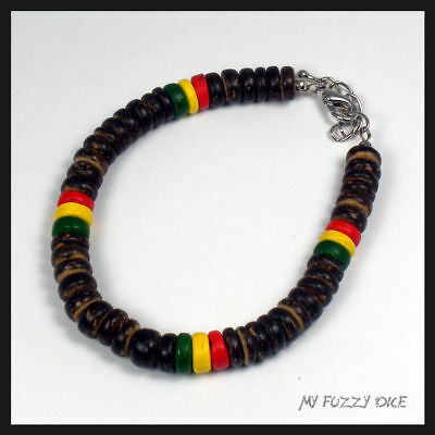 Rasta Bracelet/Anklet Brown and Red, Yellow, and Green Coco Beads 9 inch Reggae