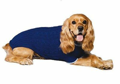 Winter Fashion-Pet Classic Cable Knit Dog Sweater,Cobalt Blue, Large
