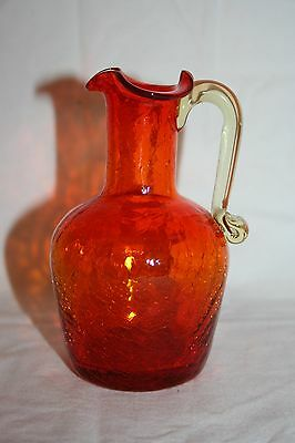 Vintage Small Red Crackle Glass Pitcher