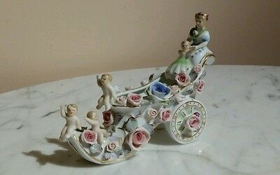 Vintage Made in Occupied Japan Floral Cherub Shoe Shaped Porcelain Carriage