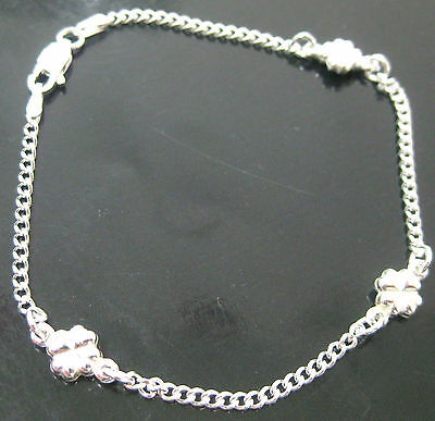 MADE IN ITALY 925 Sterling silver 14cm to 25cm LUCKY LEAVE Curb BRACELET ANKLET