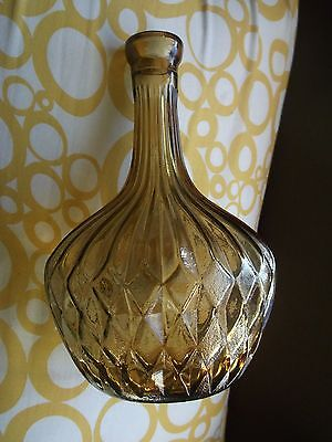Vintage Amber Brown Glass Cordial Decanter Made in ITALY