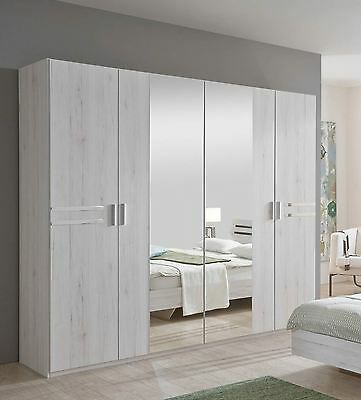 German Susan Driftwood White Oak 4 Door 2 Mirror 225cm Wardrobe Shabby Chic