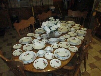 Sango Complete(Service For 8)Moss Rose Porcelain Japan China Smooth Gold Trim