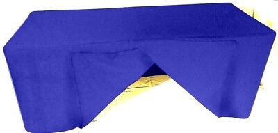 8' ft. Fitted SLIT OPEN BACK Polyester Tablecloth SHOWS Table Cover Royal Blue