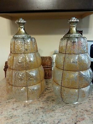 Antique 2 Victorian Hanging Beehive Shape Glass Shades