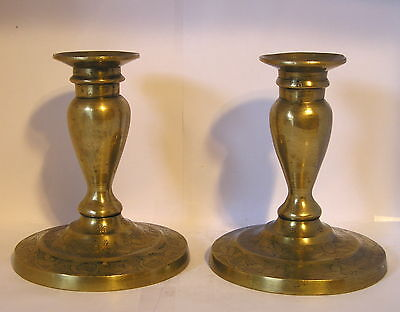 "Vintage Pair of Hand Tool Stamped Yellow Brass 5"" Candlestick<Non-Tip-over base>"