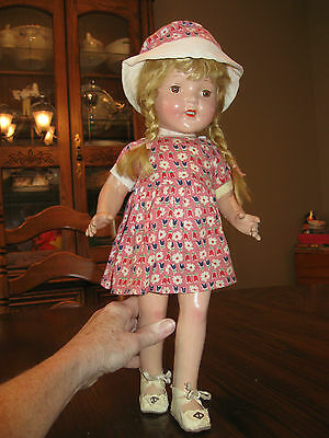 1930's COMPOSITION DOLL~16 INCH~SHUT EYES DIMPLES TEETH ALL ORIGINAL INCL SHOES