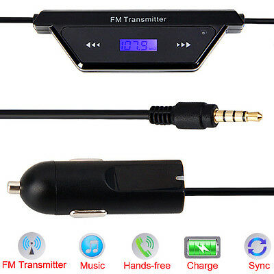 3.5mm Oval FM Transmitter Wireless Radio Car Kit for iPhone 6 6Plus 5S 5C 5 4s 4