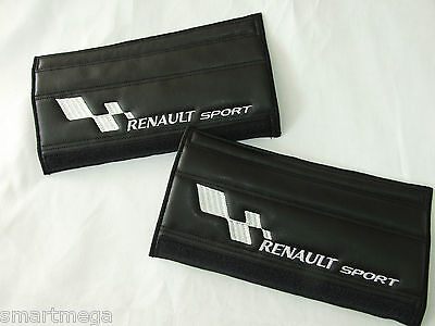 Seat Belt Harness Pads for Renault Sport  , Black PU Leather , Set of 2 pads ,