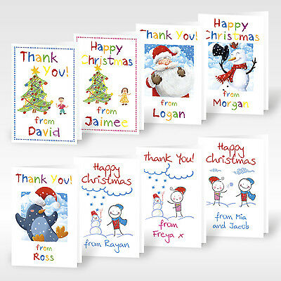 12x Personalised A6 Christmas Thank You Cards Greeting Childrens Kids Boys Girls