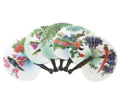 Bulk Lot x 24 Vintage Paper Chinese Traditional Folding Hand Fan Travelling Gift
