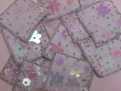 10 x Embroidered Purple Gold Beaded Sequin Card Bag Making Motifs Patches #7E38