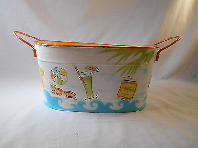 Beach themed decorative lightweight tin basket - multicolored