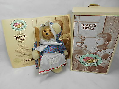 Vintage Raikes Bear Franny Farmer w/ Box & COA Great Gift! S5,2