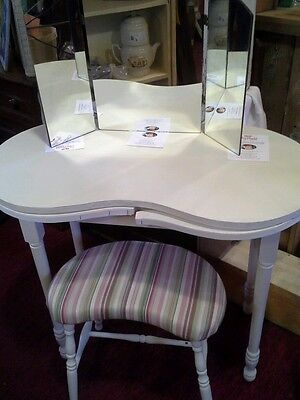 Vintage, Cream Painted,  Kidney Shaped Vanity Table,  Stool and trifold mirror