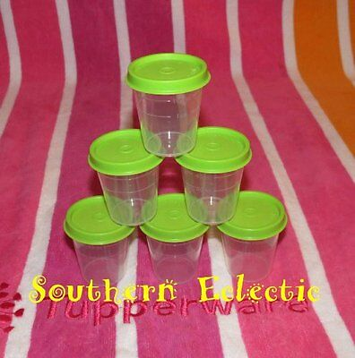 Tupperware Classic Sheer Midgets Set of 6 Containers 2 oz Green