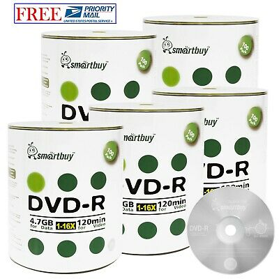 500 Pack Smartbuy 16X DVD-R 4.7GB 120Min Logo Blank Record Disc Priority Mail